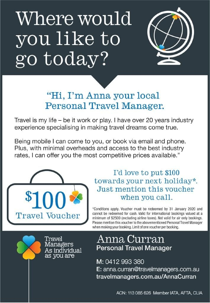 Anna Curran, your Personal Travel Manager and long time resident