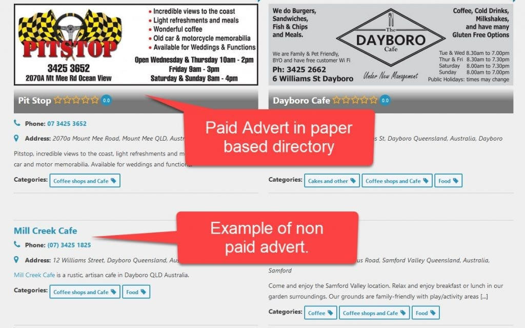 Difference between paid and unpaid adverts.
