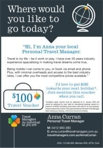 Your local travel agent: Travel Manager – Anna Curran.
